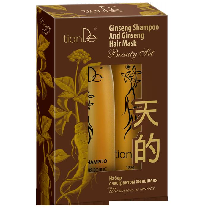 Набор TianDe с экстрактом женьшеня: шампунь+маска для волос